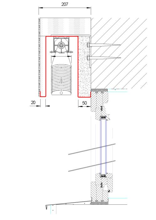 Venkovní žaluzie EC 65 se zaomítacím boxem detail nadpraží