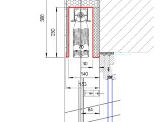 Venkovní žaluzie EZ 70 se zaomítacím boxem detail nadpraží