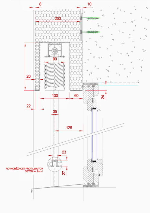 Venkovní žaluzie EZ 90 se zaomítacím boxem detail nadpraží