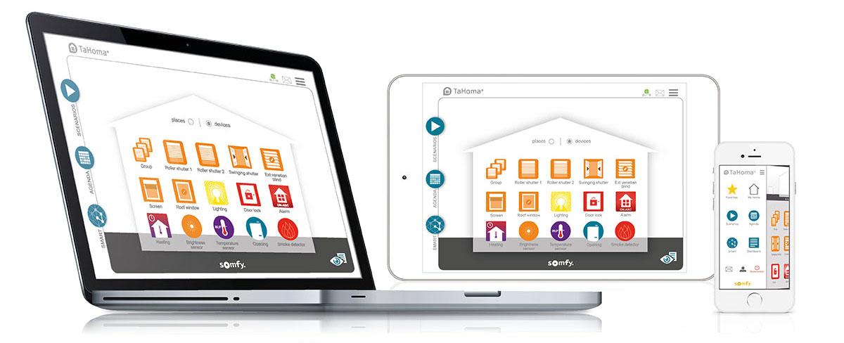 Somfy Tahoma mobil, tablet, pc
